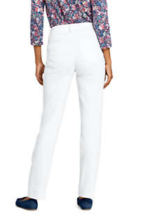 Women's Petite High Rise Compression Straight Leg White Jeans, Back