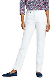 Women's Petite High Rise Compression Straight Leg White Jeans, Front
