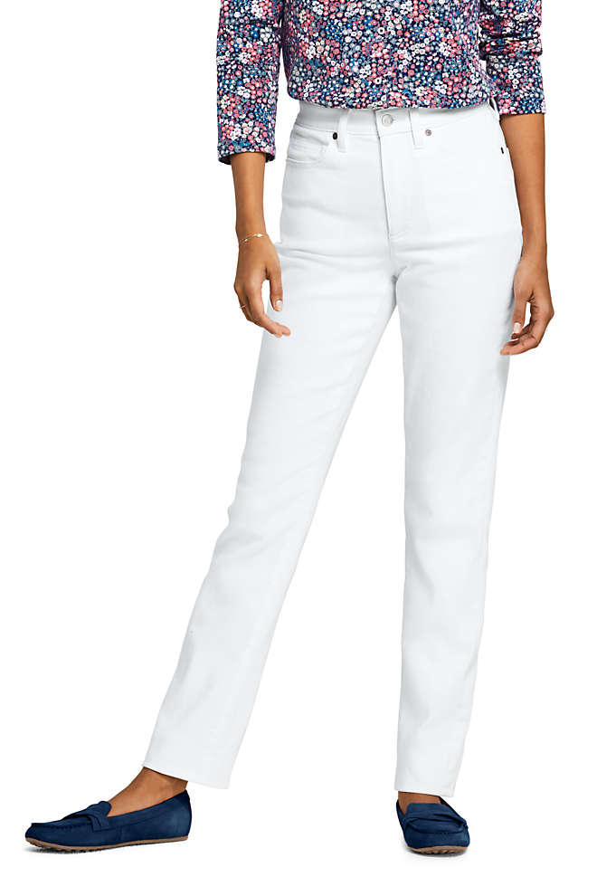 Women's High Rise Compression Straight Leg White Jeans, Front