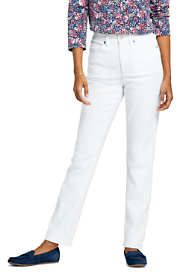 Women's Petite High Rise Compression Straight Leg White Jeans
