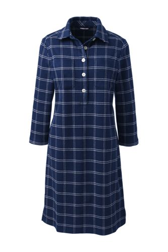 Women's Sport Knit Jacquard Jersey 3/4 Sleeve Shirtdress