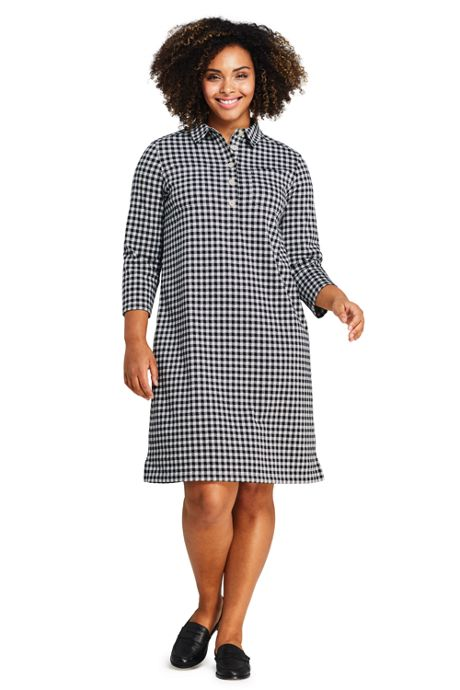Women's Plus Size Sport Knit 3/4 Sleeve Knee Length Shirt Dress