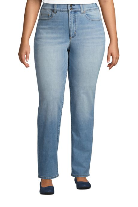 Women's Plus Size High Rise Straight Fit Shaping Blue Jeans