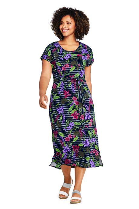 Women's Plus Size Cap Sleeve Midi T-shirt Dress