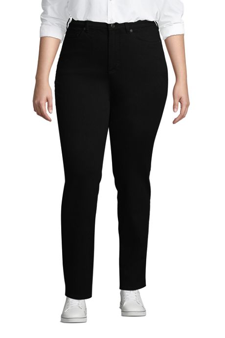 Women's Plus Size High Rise Straight Fit Shaping Black Jeans