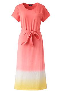Women's Stretch Cotton Jersey Cap Sleeve Midi T-shirt Dress