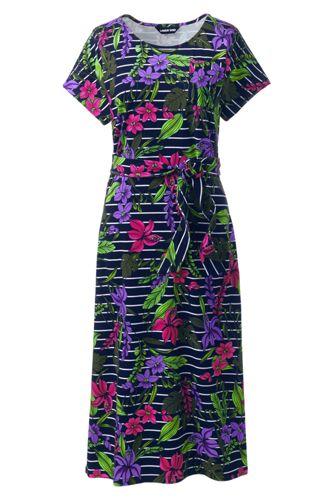 Women's Cap Sleeve Midi T-shirt Dress