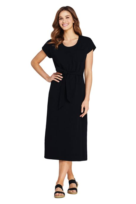 Women's Petite Cap Sleeve Midi T-shirt Dress