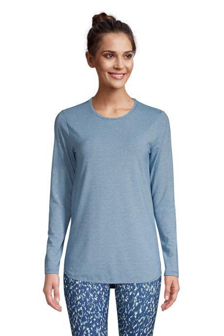 Women's Petite Moisture Wicking UPF Sun Long Sleeve Curved Hem Tunic Top