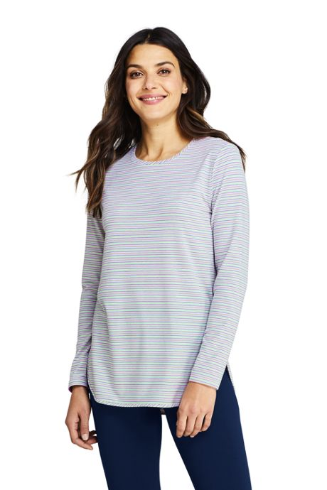 Women's Moisture Wicking UPF Sun Long Sleeve Curved Hem Tunic Top