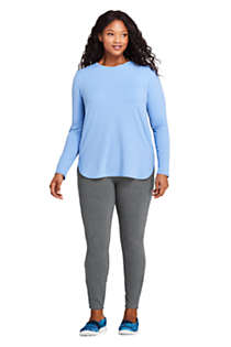 Women's Plus Size Moisture Wicking UPF 50 Sun Long Sleeve Curved Hem Tunic Top, Unknown