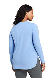 Women's Plus Size Moisture Wicking UPF 50 Sun Long Sleeve Curved Hem Tunic Top, Back