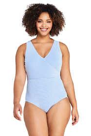 Women's Plus Size V-neck One Piece Swimsuit Seersucker Stripe