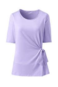 Women's Plus Size Elbow Sleeve Side Tie Top
