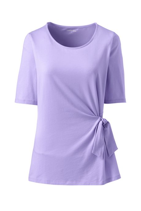Women's Plus Size Elbow Sleeve Side Tie Top
