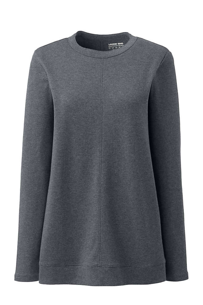 Women's Plus Size Cotton Polyester Long Sleeve Open Crew Neck Tunic, Front