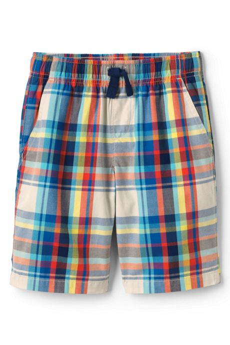 Boys Slim Plaid Pull On Shorts
