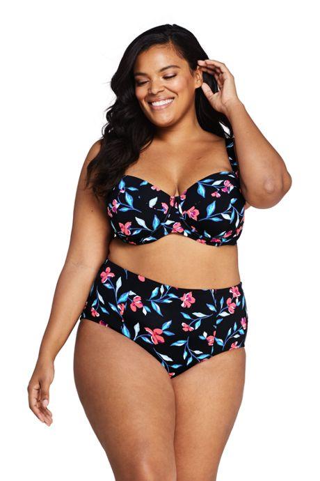 Women's Plus Size Underwire Retro Bikini Top Swimsuit with Adjustable Straps Black