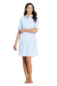 Women's Petite Button Down Shirt Dress Swim Cover-up Seersucker Stipe