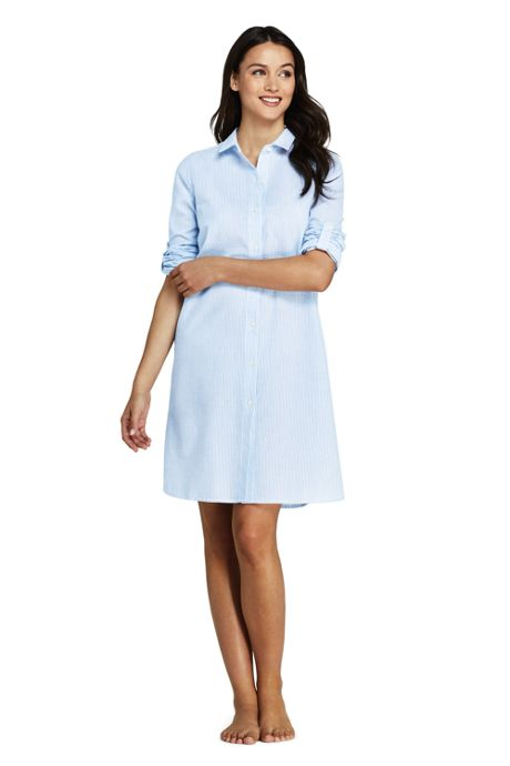 Women's Petite Button Down Shirt Dress Swim Cover-up Seersucker Stripe