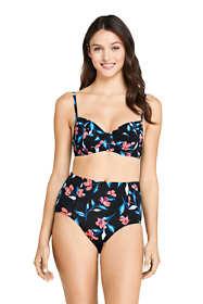 Women's Underwire Retro Bikini Top Swimsuit with Adjustable Straps Black
