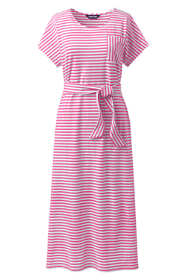 Women's Plus Size Cap Sleeve Midi T-shirt Dress - Stripe