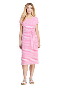 Women's Petite Cap Sleeve Midi T-shirt Dress - Stripe