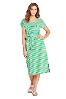 Women's Stripe Cotton Jersey Cap Sleeve Midi T-shirt Dress