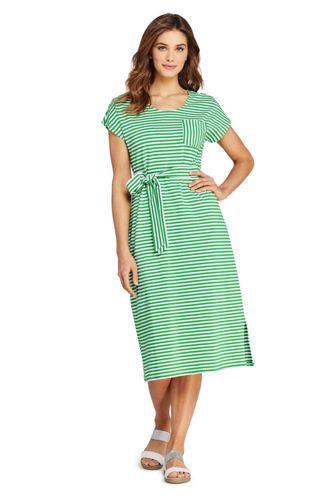 Gestreiftes Jersey-Shirtkleid in Midilänge in Plus-Größe für Damen