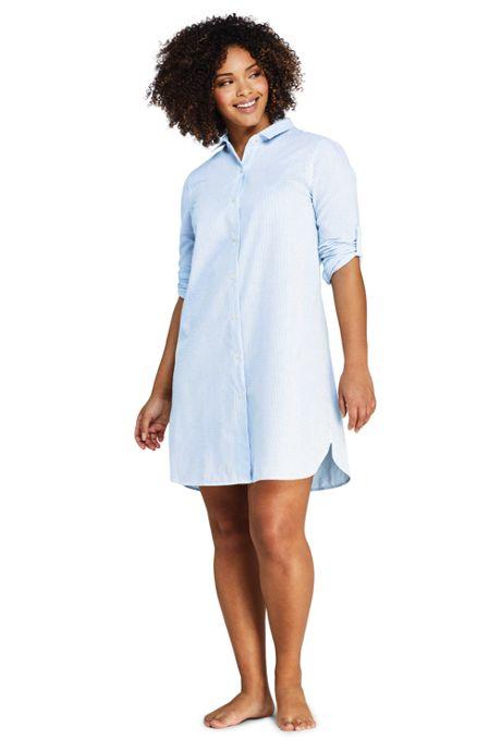 Women's Plus Size Button Down Shirt Dress Swim Cover-up Seersucker Stripe