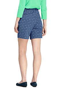 "Women's Mid Rise 7"" Curvy Chino Print Shorts, Back"