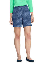 "Women's Mid Rise 7"" Curvy Chino Print Shorts"