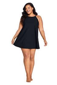 Women's Plus Size Tummy Control High Neck Swim Dress One Piece Swimsuit