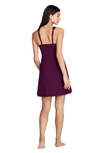 Women's Tummy Control Surplice Wrap Swim Dress One Piece Swimsuit