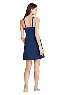Women's Tummy Control Surplice Wrap Swim Dress One Piece Swimsuit, Back