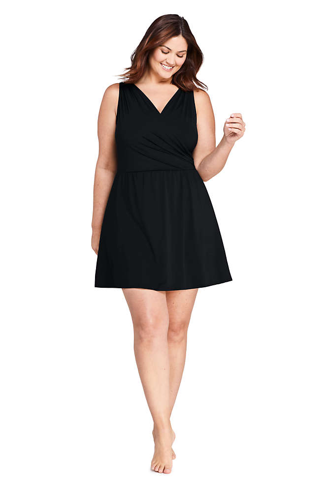 Women's Plus Size DDD-Cup Tummy Control Surplice Wrap Swim Dress One Piece Swimsuit, Front