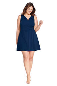 Women's Plus Size Tummy Control Surplice Wrap Swim Dress One Piece Swimsuit