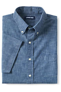 Men's Traditional Fit Short Sleeve Chambray Shirt, alternative image