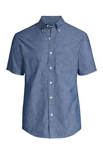 Men's Traditional Fit Short Sleeve Chambray Shirt, Front