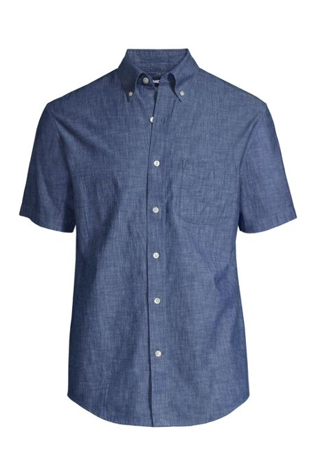 Men's Traditional Fit Short Sleeve Chambray Shirt