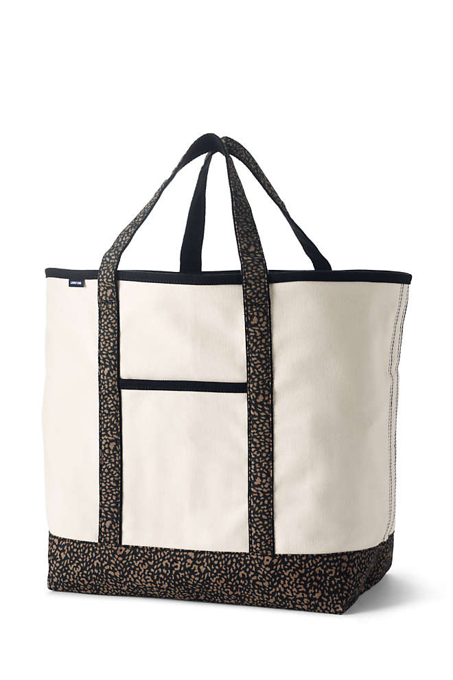 Extra Large Natural With Printed Handle Open Top Canvas Tote Bag, Front