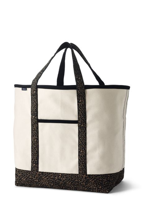 Extra Large Natural With Printed Handle Open Top Canvas Tote Bag