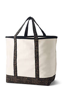 Extra Large Natural With Printed Handle Open Top Canvas Tote Bag, Back