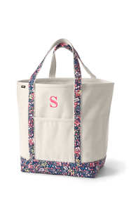 Large Natural With Printed Handle Open Top Canvas Tote Bag