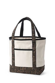 Medium Natural With Printed Handle Open Top Canvas Tote Bag