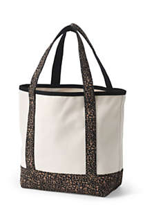 Medium Natural With Printed Handle Open Top Canvas Tote Bag, Back