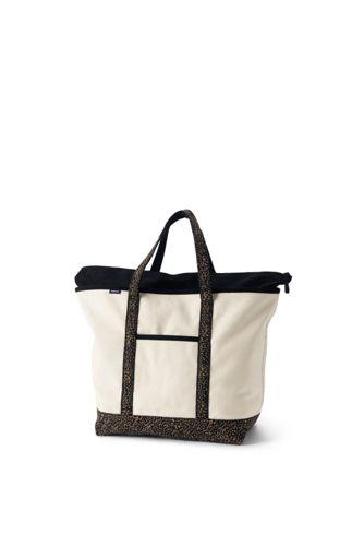 Extragroße Canvastasche mit Reißverschluss und gemusterten Griffen