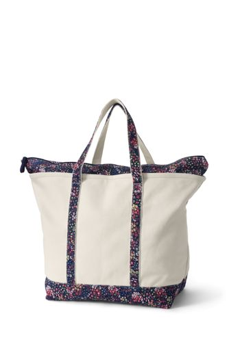 Extra Large Natural With Printed Handle Zip Top Canvas Tote Bag