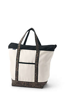 Large Natural With Printed Handle Zip Top Canvas Tote Bag, Front