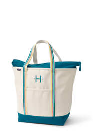 Large Natural With Printed Handle Zip Top Canvas Tote Bag